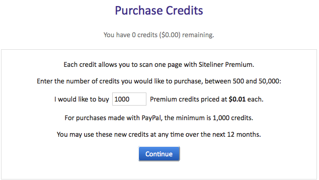 Siteliner_Premium_-_Purchase_Credits