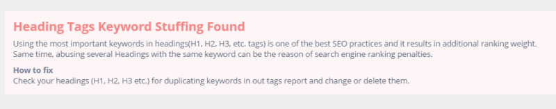 Heading Tags Keyword Stuffing
